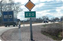 E20 vägskylt
